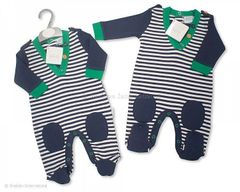 Navy and green all-in-one baby suit