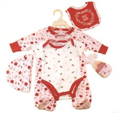 """""""Sweet Heart"""" Red and White gift set of All-in-One, Body Suit, Hat, Bib and Mittens"""