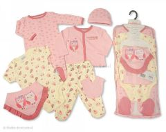 Seven piece baby gift set Hearts and Owls