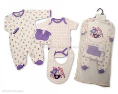 Nursery Time NT0671 Fantastic cotton 5 piece Purple Layette Gift Set.