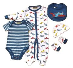 Honour & Pride 'Aeroplane' 5 piece layette set. Available to fit ages Newborn-6 months