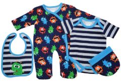 """Pitter Patter """"Cute Monster"""" 4 piece Baby Boy Layette Set."""