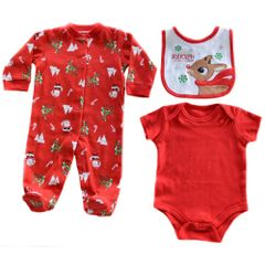 Soft Touch 3 piece unisex Christmas baby set - Rudolph the Red Nose Reindeer