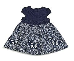 Cotton lined navy blue & white dress.