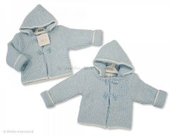 Nursery Time Double Knit Hooded Blue Cardigan with Toggles. Available to fit ages Newborn-6 months.