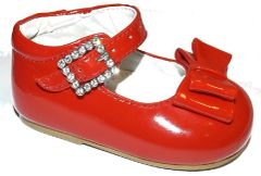 Early Steps Patent Double Bow Shoe with Diamanté Buckle in White, Pink and NOW RED
