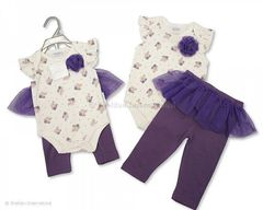 Nursery Time Purple/White with Purple Polka-Dot baby girl gift set.