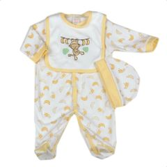 Watch Me Grow unisex 'Monkey and the Bananas' 3 piece layette set. Available to fit ages 0-9 months.