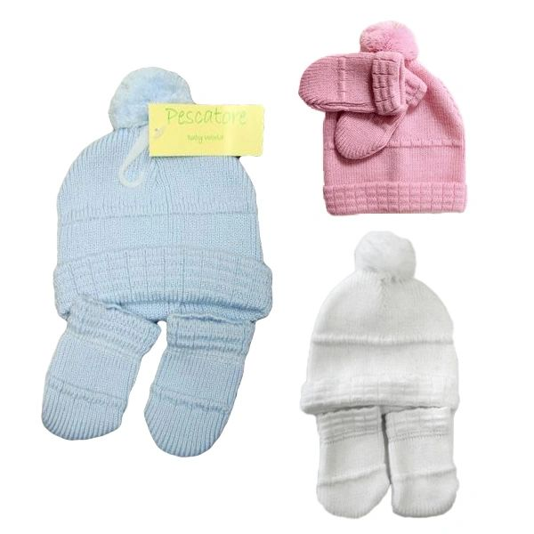 Pom Pom Hat and Mitten set - by Pesci Baby  04904565d30