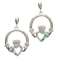 Earrings - Claddagh - Silver - Stone Set - Shanore SE1053GRCZ