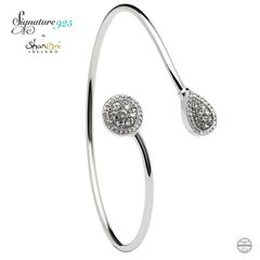 Bangle - Silver - Round Pear Shape Halo With Swarovski Crystal - Shanore ST61