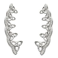 Earrings Celtic Trinity Knot Silver White Swarovski Crystals - Shanore SW78