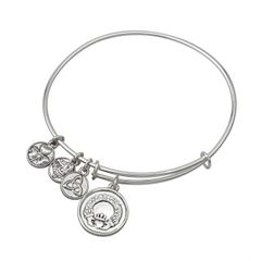 Bracelet - Bangle - Claddagh Charm with Crystals - Solvar #5831S