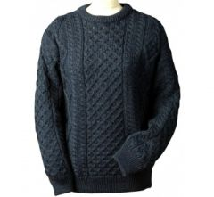 Sweater - Fisherman Knit - Wool - Crew Neck - Black Watch - Medium