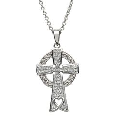 Necklace - Pendant - Celtic Cross - Sterling with Swarovski - Shanore #SW92