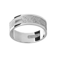 Ring - Band - Celtic Cross - Silver - Boru WED265
