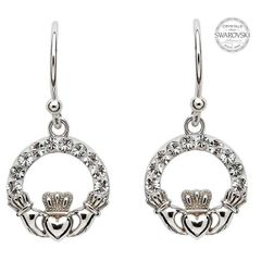 Earrings - Claddagh Drop - Sterling - White Swarovski Crystals - Shanore SW2