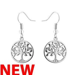 Earrings - Celtic Tree of Life Drops - Rhodium Plated - Solvar #33911