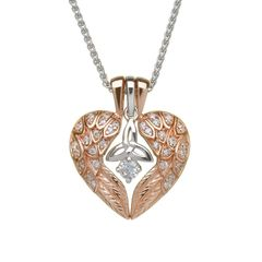 Necklace - Pendant- Angel wings with Trinity - Rose Gold Plated - Boru BP36