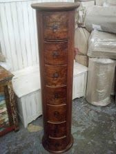 7 Drawer Round Column Chest - Mango Wood