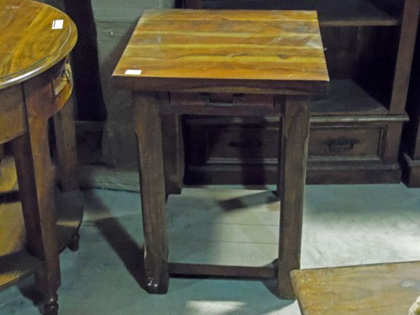 Small Square Accent Table: Small Square End Table With Drawer - Mango Wood