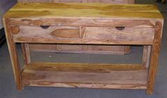 Zen Wood 2 Drawer Console Table - Natural Finish