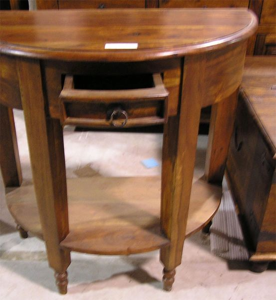 Half Moon Round Table With Drawer Mango Wood Peddlers Mall Llc
