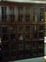 Distressed Manor House Bookcase with Glass Doors - Dark Brown Finish