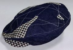 Denim Cap with B/W Check Trim