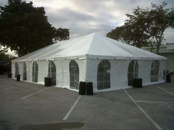 10' x 7' or 8' Cathedral-Window Tent Sidewall (Premium Commercial Quality White 13 Oz. w/ blockout & 20 Gauge Clear Windows ) - Free Shipping to Select Locations
