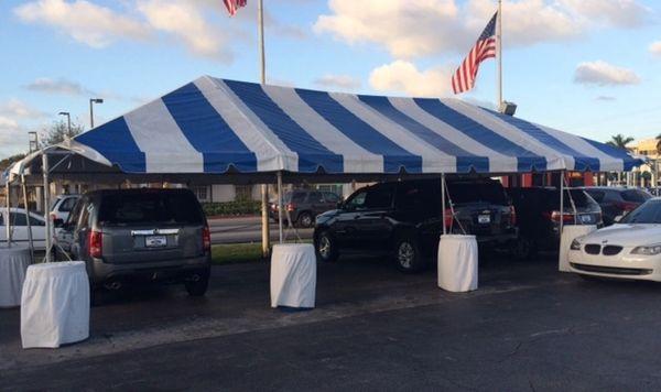 Blue-Stripe Tent Top / Sidewalls