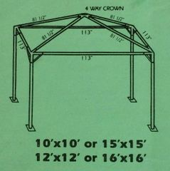 ***15' x 15' Portable Carport Structure SuperSale (Single Tube Aluminum) (Variety of Colors & Fabrics in 1 or 2-Piece 5 to 100% Blockout, Translucent, or Mesh)