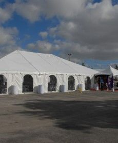 *20' x 9' Cathedral-Window Tent Sidewall (Premium Commercial Quality White 13 Oz. w/ blockout & 20 Gauge Clear Windows )