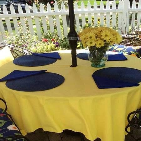 "108"" Round Table Cloth with Umbrella Hole 10-Pack in a Variety of Colors (Premium-Quality 100 % Flame Retardant Polyester-Made in USA) - Free Shipping Available"