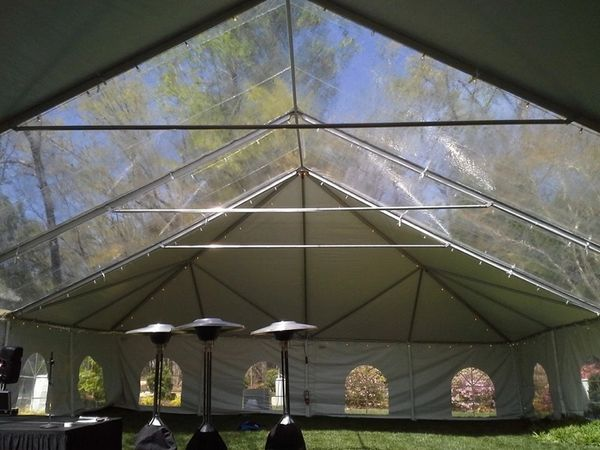 *30' x 7' or 8' Cathedral-Window Tent Sidewall SuperSale (Premium Commercial Quality White 13 Oz. w/ blockout & 20 Gauge Clear Windows )