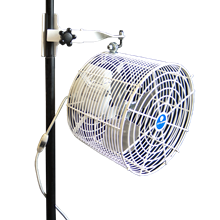 12 inch Versa-Kool Pole-Mounted Tent Fan for Twin-Tube Frames (Model VK12TF-TPM-W) with Twin-Tube pole mount