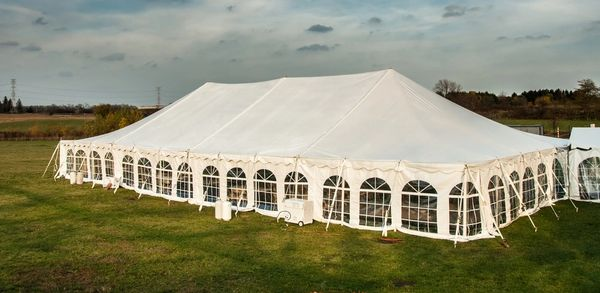 *30' x 10' Cathedral-Window Tent Sidewall SuperSale (Premium Commercial Quality White 13 Oz. w/ blockout & 20 Gauge Clear Windows )