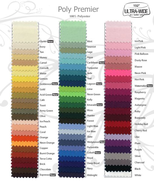 Fabric Color Swatch Card and Napkin Sample (100% Premium-Commercial Quality Flame Retardant Polyester) - Made in USA