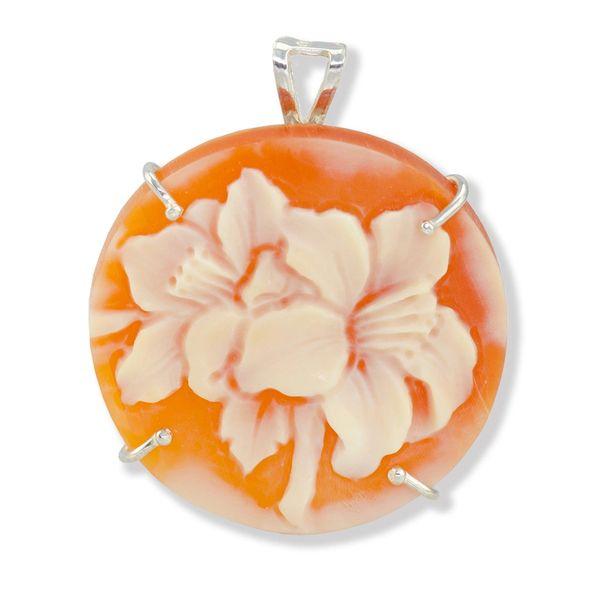 Italian handmade floralcarnelian shell cameo jewelry pendant jjp round floral cameo pendantbrooch aloadofball Image collections