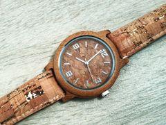 Bamboo and Cork Quartz Gift Watch