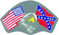 US & CONFEDERATE FLAGS WITH EAGLE