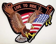 LIVE TO RIDE WITH STUDDED EAGLE AND FLAG LARGE