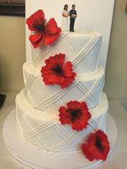 Wedding Cake - Flowers and Stripes