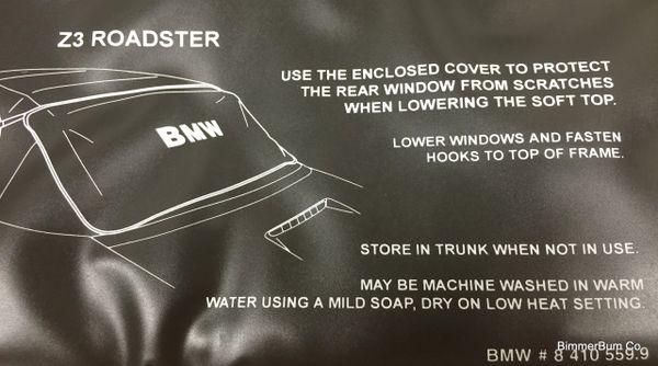 Genuine Bmw Z3 Roadster Protective Window Blanket