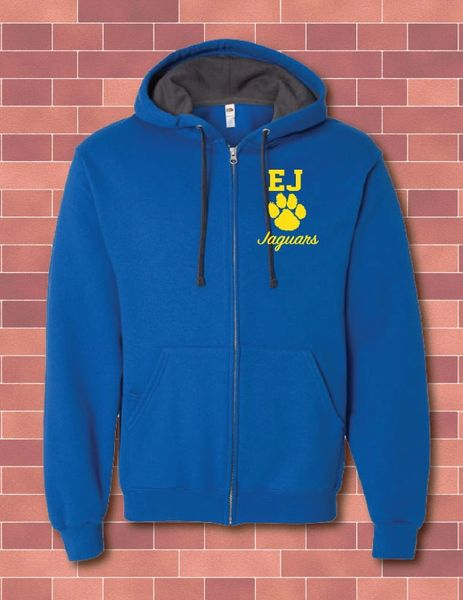 FULL ZIP 2-TONE HOODED SWEATSHIRT