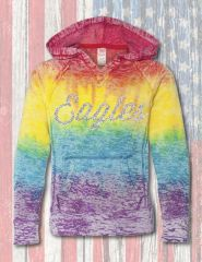 Premium V-Notch Burnout RAINBOW FLEECE HOODY