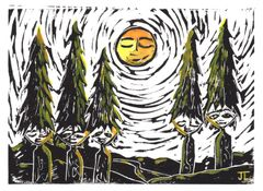 SOLD 5x7 Tree People Linocut and Watercolor