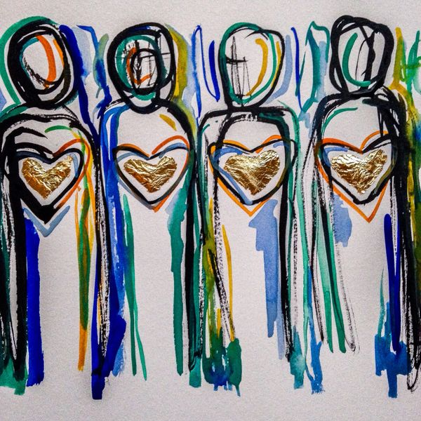 """SOLD 9x12"""" hearts of gold people"""