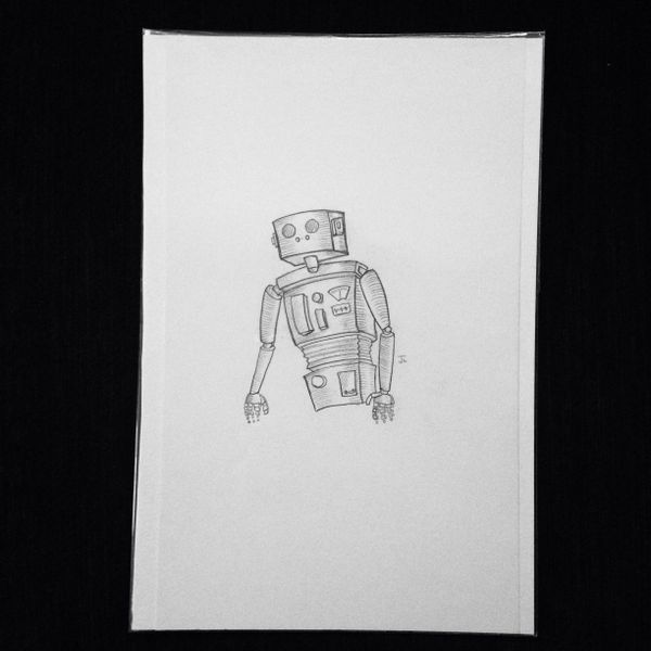 "Robot 9x6"" graphite drawing"