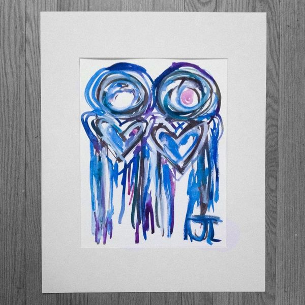 "SOLD 11x15"" Heart People Original Watercolor"